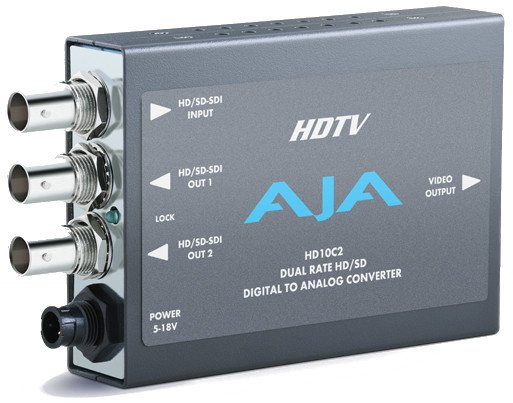 HD-SDI/SDI to Analog Mini Converter with 2 EQ'd HD-SDI Outputs and Power Supply