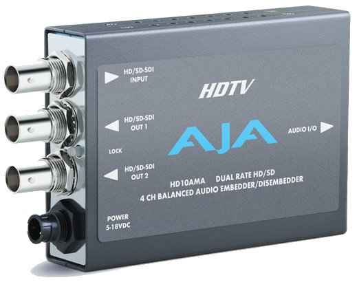 Dual Rate 4 Channel SD/HD-SDI Analog Audio Embedder/Disembedder with XLR Breakout Cable and Power Supply