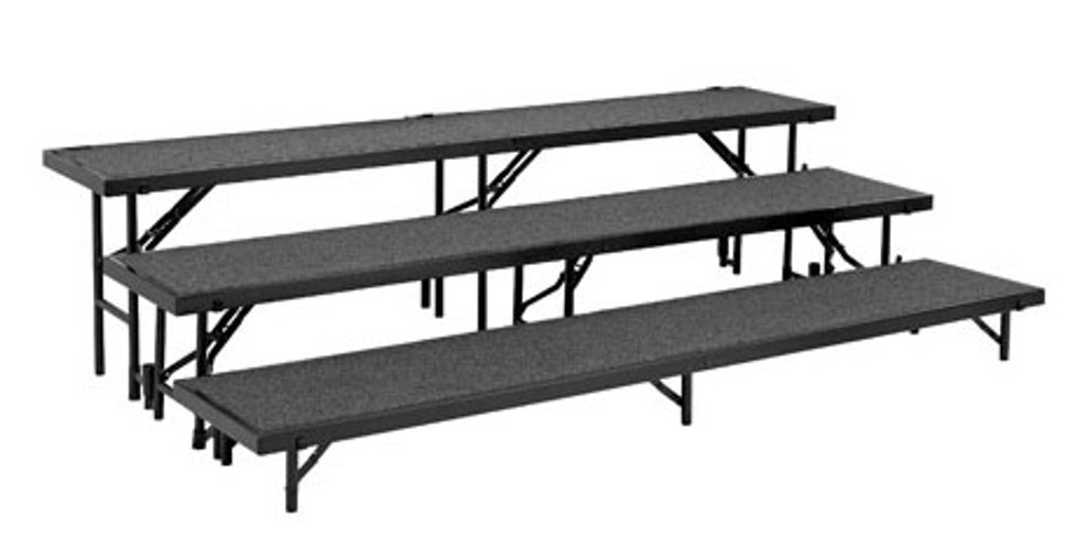 3-Level Carpeted Straight Riser - RS8C, RS16C, RS24C