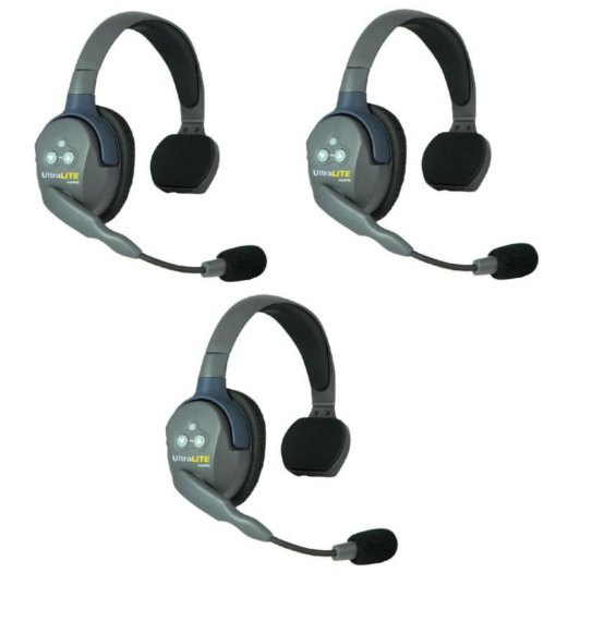 UltraLITE 3 Person System with 3 Single Headsets, Batteries and Case Included