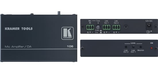 1:2 Microphone to Line Distribution Amplifier