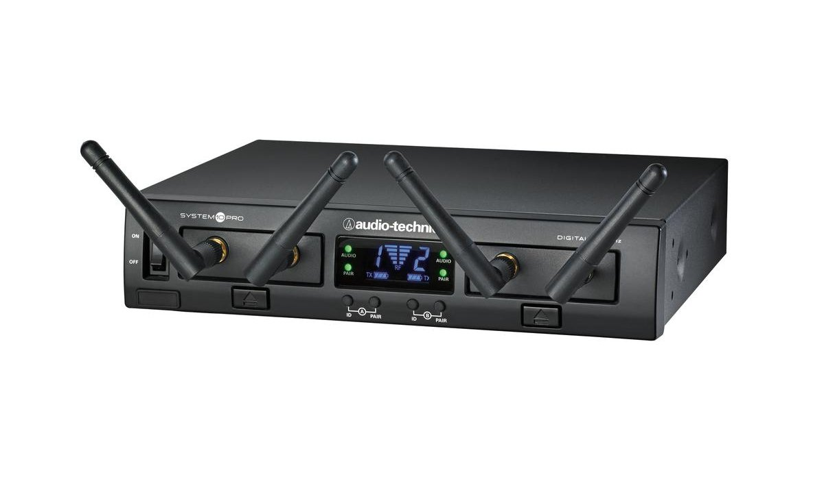 System 10 PRO Rackmount Dual-Channel Digital Wireless System with (1) ATW-T1001 Bodypack Transmitter, (1) MT830cW Lavalier Microphone and (1) ATW-T1002 Handheld Transmitter