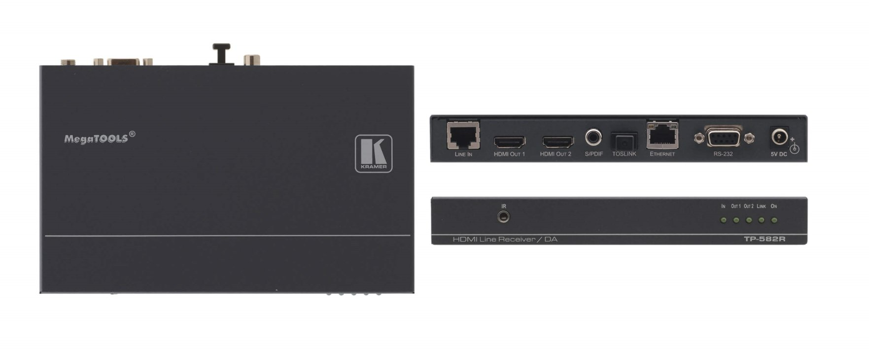1:2 HDMI Plus Bidirectional RS-232, Ethernet & IR over Twisted Pair Receiver