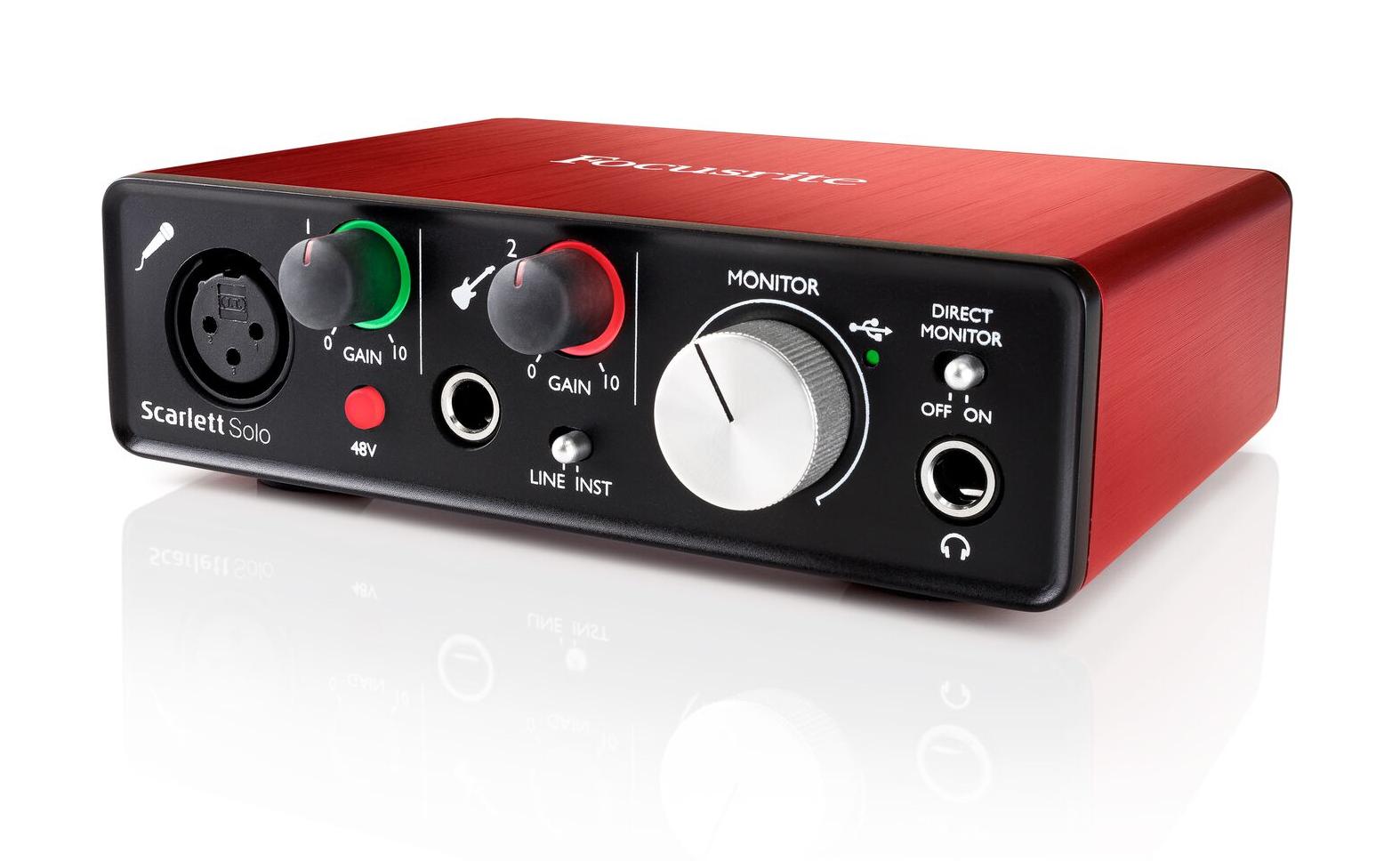 focusrite scarlett solo v2 b2 2x2 usb audio interface with single micrphone preamp 2nd
