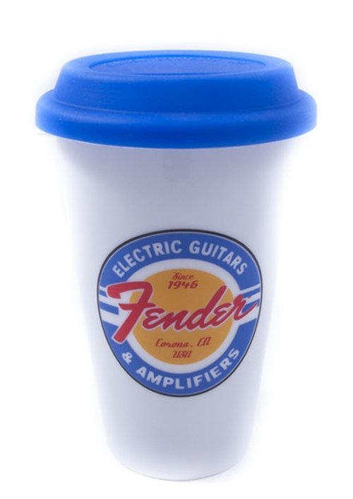 11 oz Double-Wall Ceramic Travel Cup in White