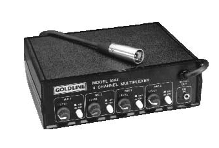 Goldline MX4310 [RESTOCK ITEM] 4-Channel Microphone Multiplexer (with 3 Mics) MX4310-RST-01