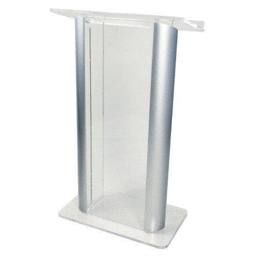 Contemporary Alumacrylic Lectern, Silver Posts