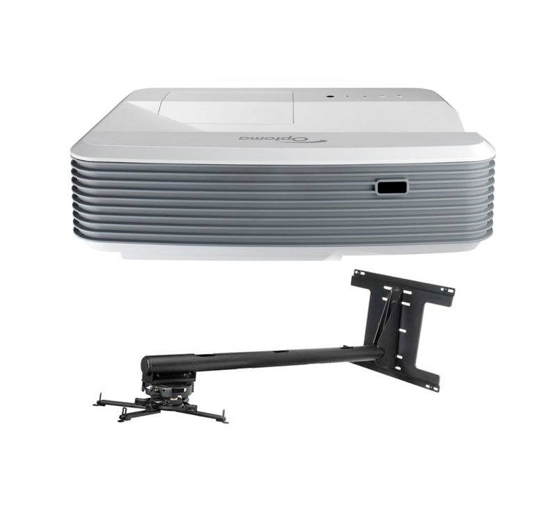 3500 Lumen 1080p DLP Ultra Short Throw Projector with Arm Mount and Cable