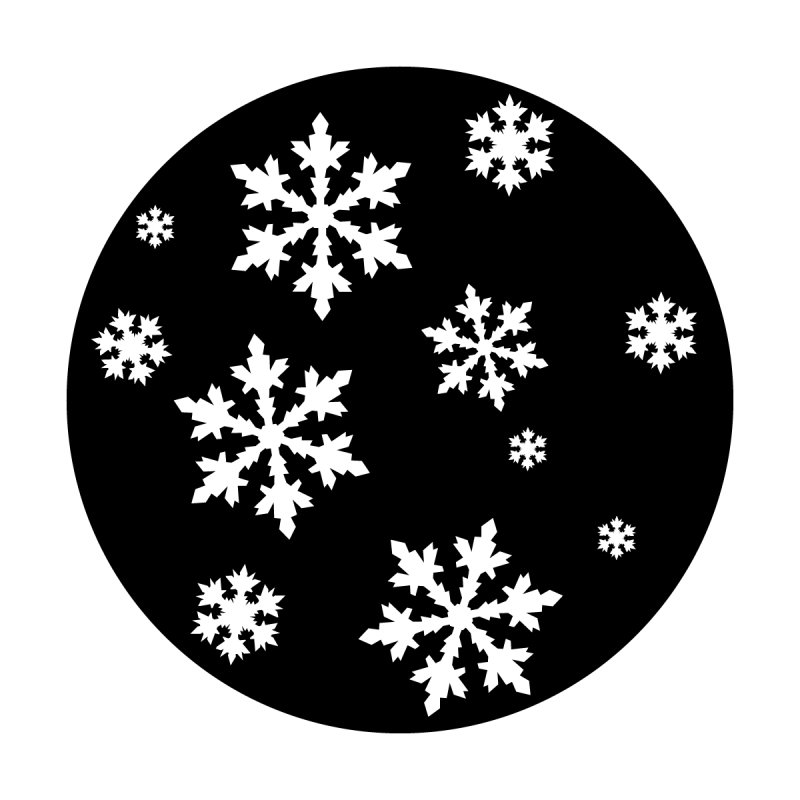 "Steel Gobo with ""Snowflake Gothic Group"" Image Pattern"