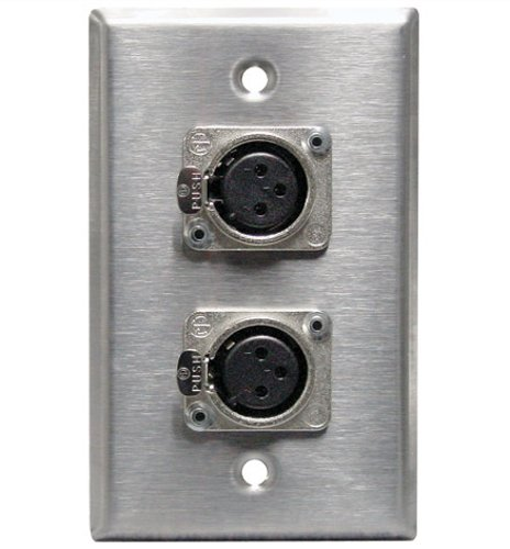 RapcoHorizon Music SP-1DFN1DMN  Single Gang Stainless Steel Wallplate with (1) XLRF and (1) XLRM Connector SP-1DFN1DMN
