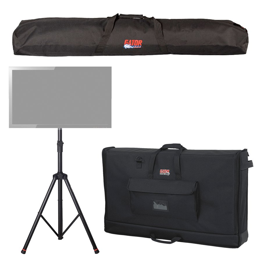 Package with a Deluxe Tripod LCD/LED Stand, a Speaker Stand Bag, and a Large Padded LCD Transport Bag