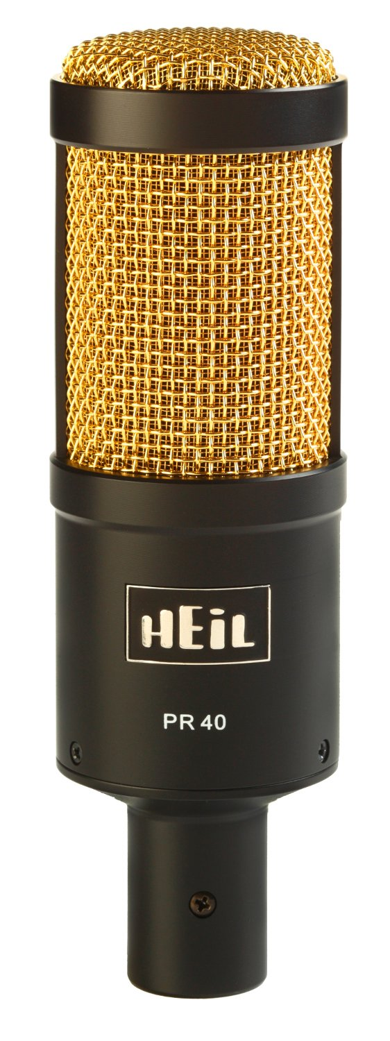 Large Diaphragm Dynamic Super Cardioid Microphone, Black Body with Gold Screen