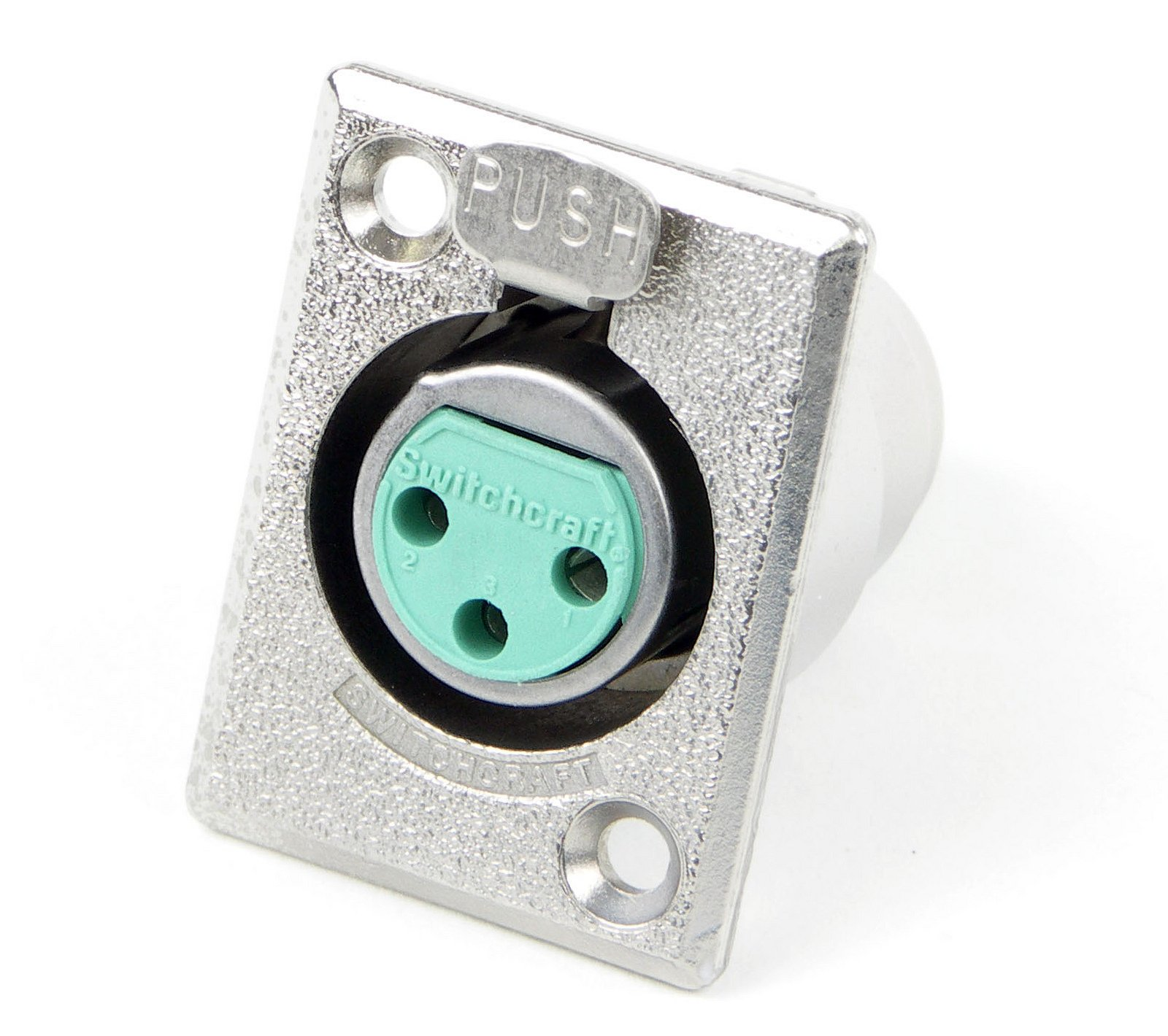 DE Series 3-Pin Panel Mount XLRF Connector with Nickel Finish