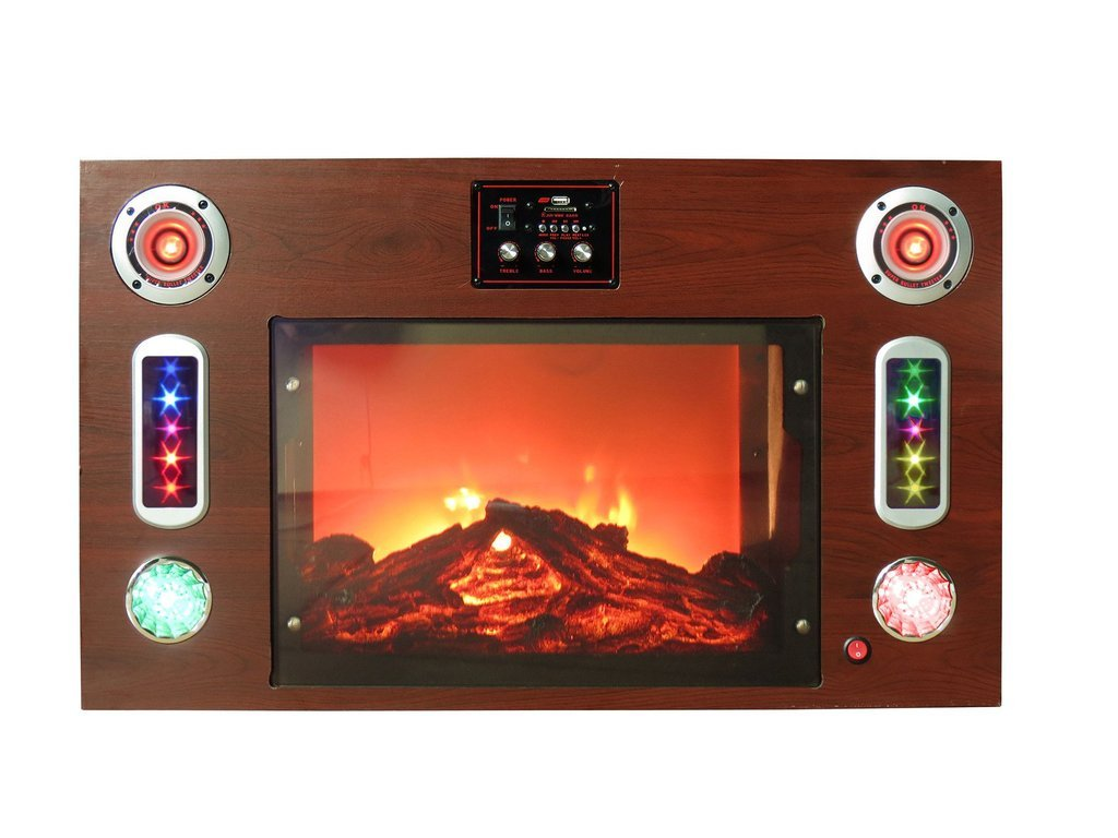 Technical Pro Fire5000 Electric Fireplace Bluetooth Entertainment Center Full Compass