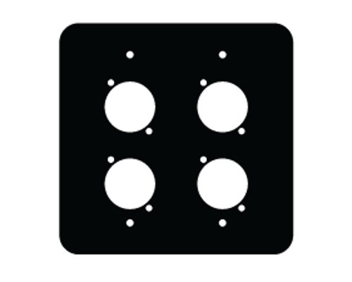 2 Gang FPG Series Black Wall Panel with 4 Neutrik D Cutouts