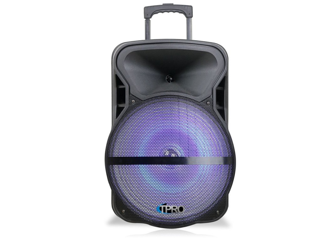"""15"""" Powered Speaker with USB, SD Player with LED Light Effect"""