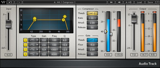 Audio Processing Plugin with Equalization, Gating, and Compression