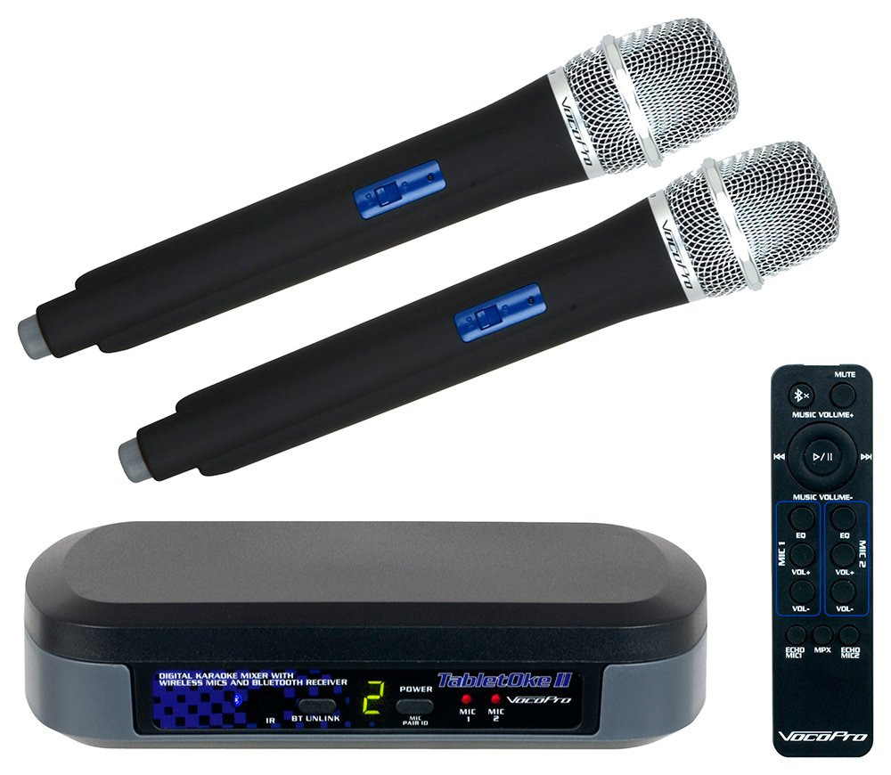 Digital Karaoke Mixer with Wireless Microphones and Bluetooth Receiver