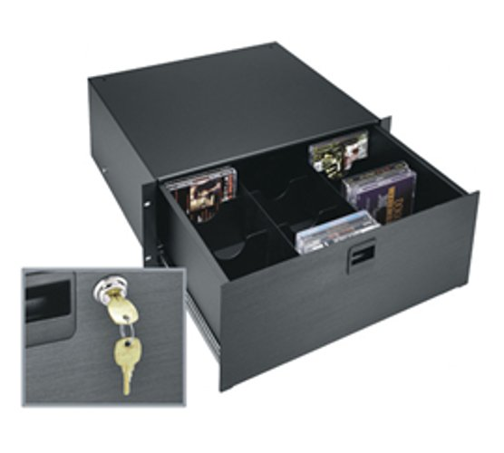 "Middle Atlantic Products D4 Lk Black Anodize 4 Space (7"") 14"" Deep Drawer with Locking Mechanism D4-LK"