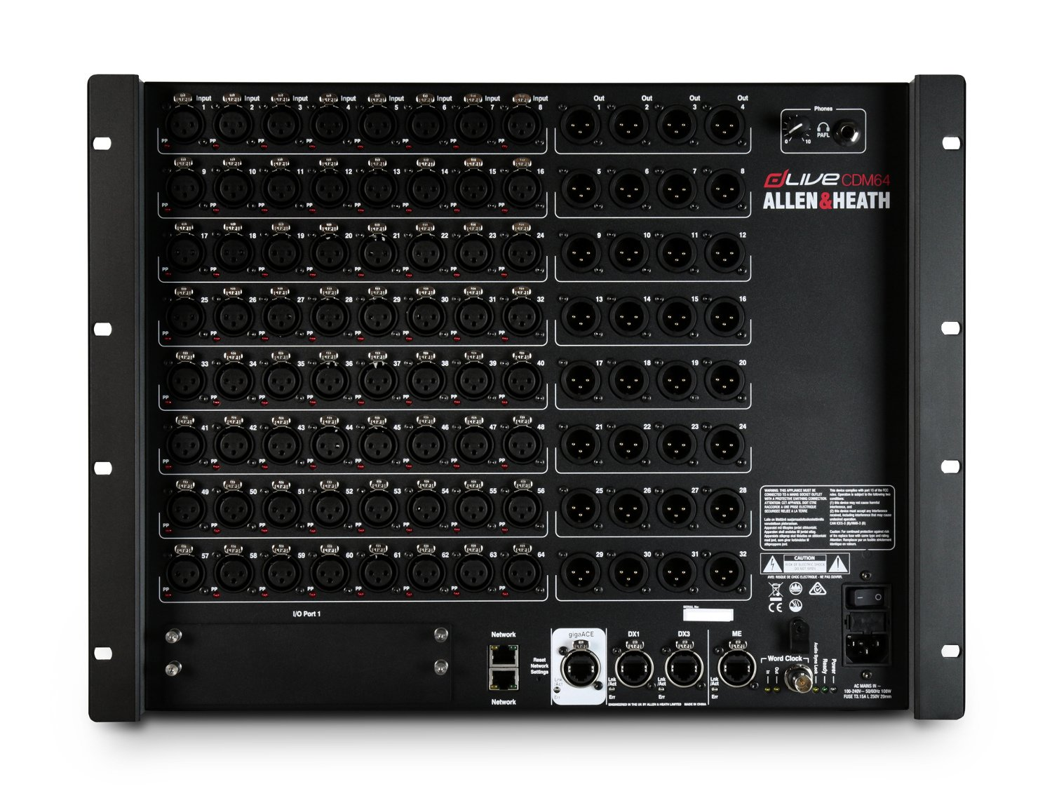 dLive C Class MixRack with 64 Microphone/Line Inputs and 32 Line Outputs