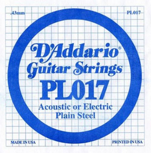 "D`Addario PL017 .017"" Plain Steel Guitar String PL017"