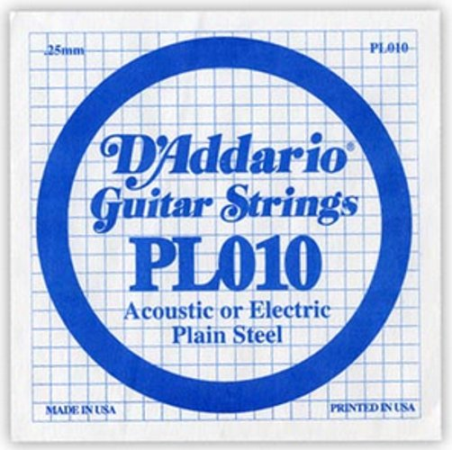 "D`Addario PL010 .010"" Plain Steel Guitar String PL010"