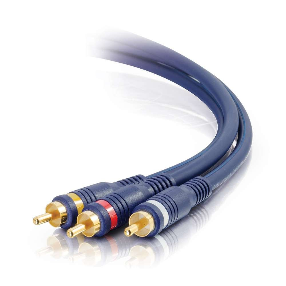 25 ft RCA Cable with Composite Video Male and Stereo Audio Male Connectors