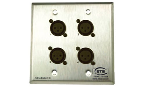 Double Gang Brushed Steel Wall Plate, (4) XLRF to 110 Punchdown