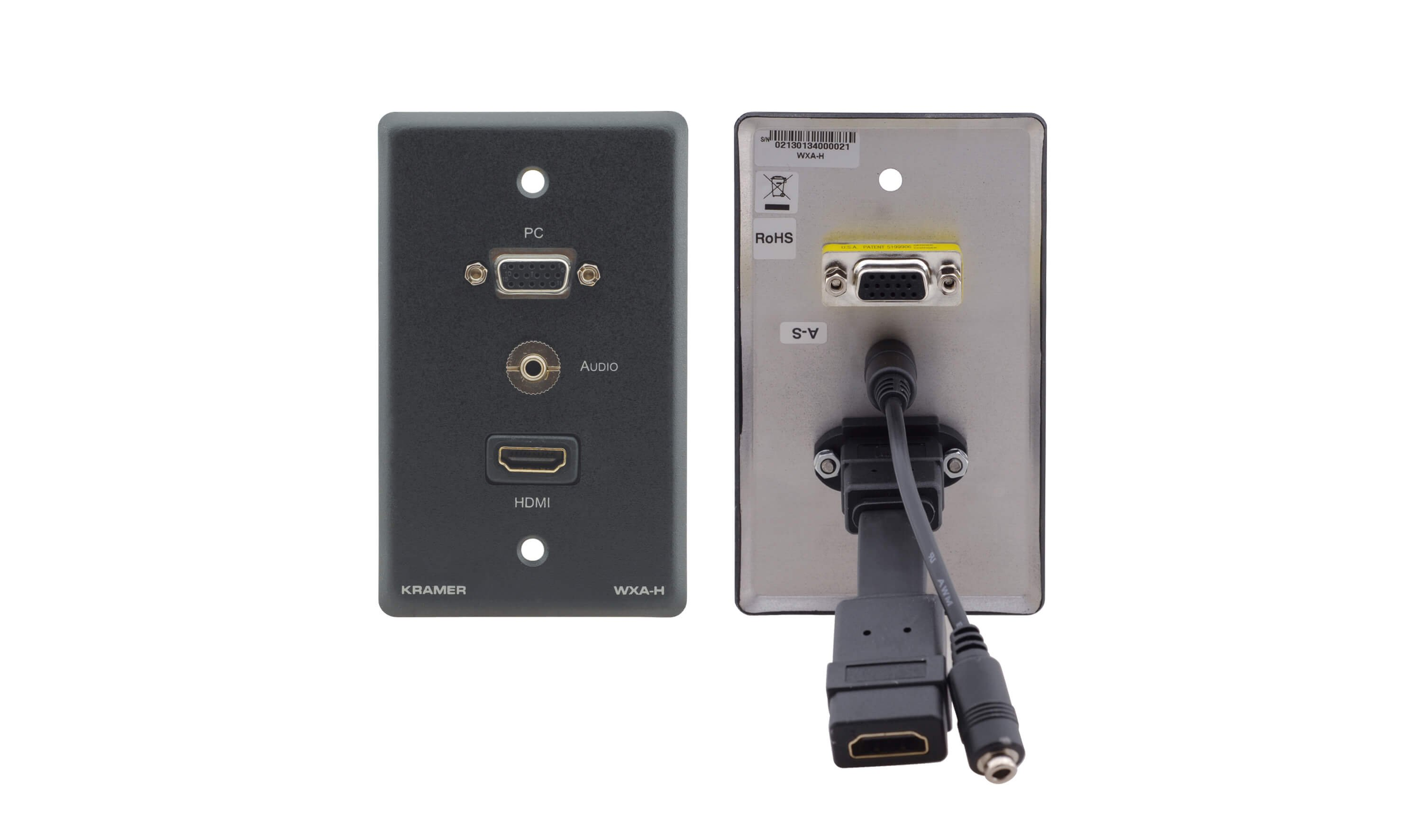 Passive DECORA Wall Plate - 15-Pin HD, 3.5mm Audio, and HDMI