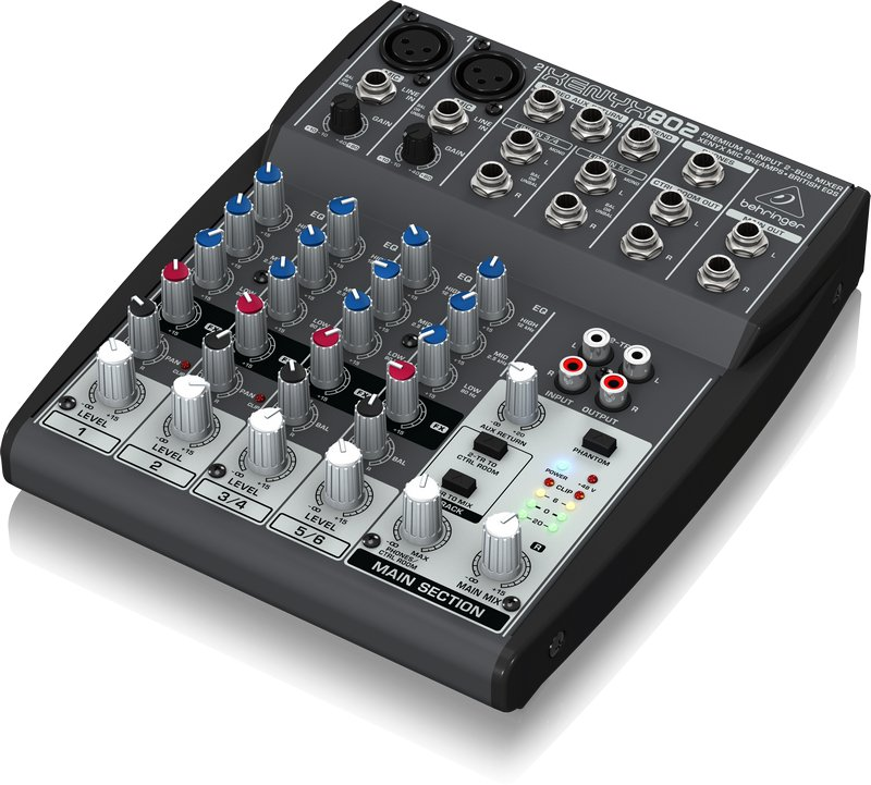 8-Input, 2-Bus Compact Mixer with (2) XENYX Microphone Preamplifiers