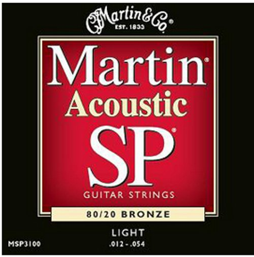 Light Martin SP Acoustic 80/20 Bronze Guitar Strings