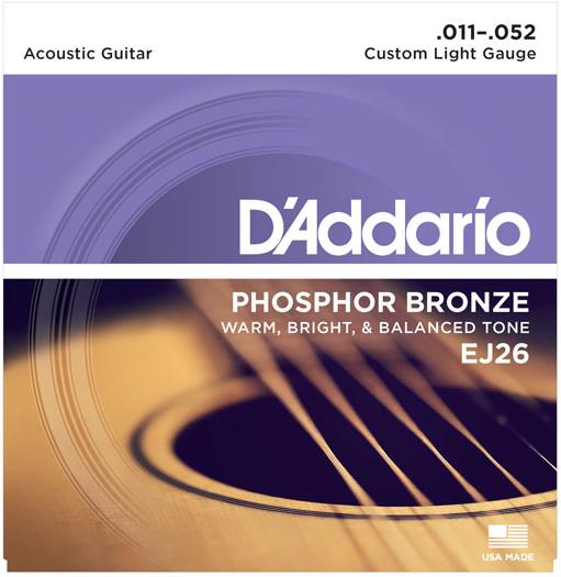 D`Addario EJ26-3D 3-Pack of Custom Light Phosphor Bronze Acoustic Guitar Strings EJ26-3D