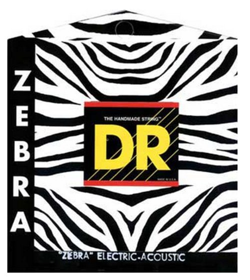 DR Strings ZAE-10 Light ZEBRA Nickel-Plated Steel/RARE Phosphor Bronze Acoustic/Electric Guitar Strings ZAE-10
