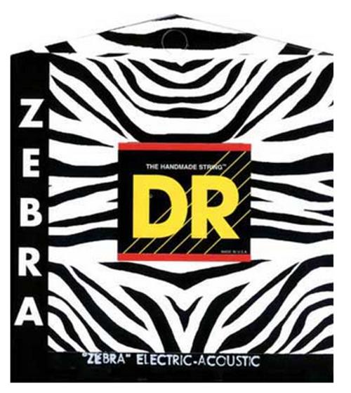 DR Strings ZAE-12 Medium ZEBRA Nickel-Plated Steel/RARE Phosphor Bronze Acoustic/Electric Guitar Strings ZAE-12