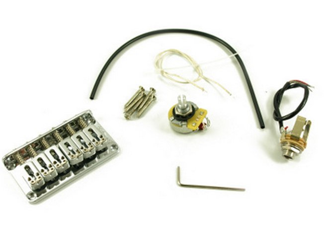 Electric Guitar Fixed Piezo Bridge in Chrome