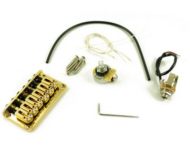 Electric Guitar Fixed Piezo Bridge in Gold
