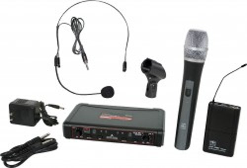 EDXR Receiver,  HH38 Hand Held Transmitter, MBP38 Body Back Transmitter, and HS13-UBK Headset Microphone
