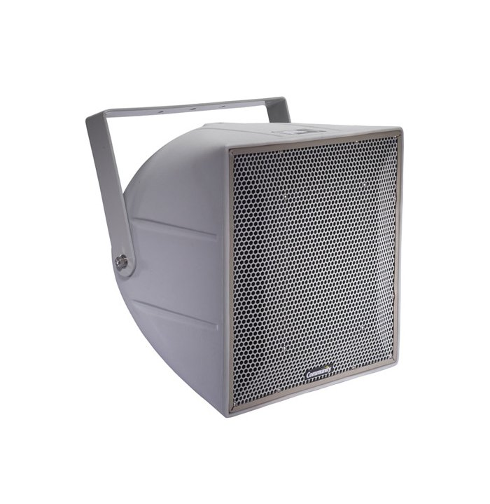 Full-Range, 3-Way 12-Inch Horn-Loaded 70V/100V Racetrack Catch Fence Speaker System in Grey