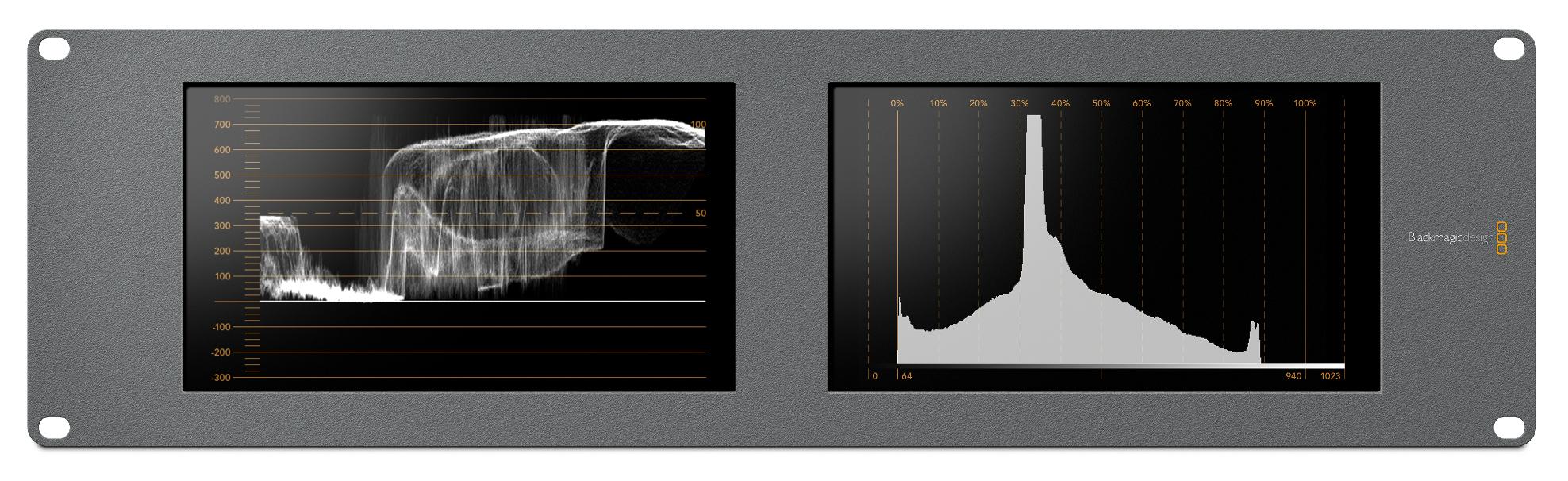 "Dual 8"" 3RU SDI/HD-SDI/3G-SDI/6G-SDI 4K Monitors with Built in Scopes"