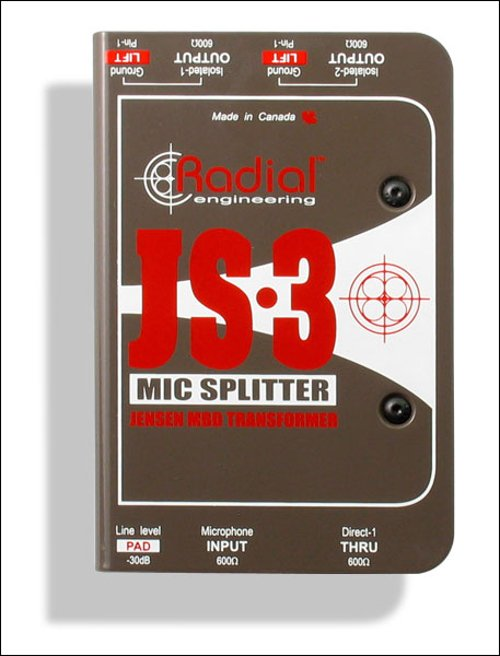 Microphone Splitter, 1-in / 3-out