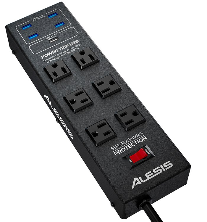 Power Strip with Integrated USB 3.0 Hub and 6 ft USB Cable