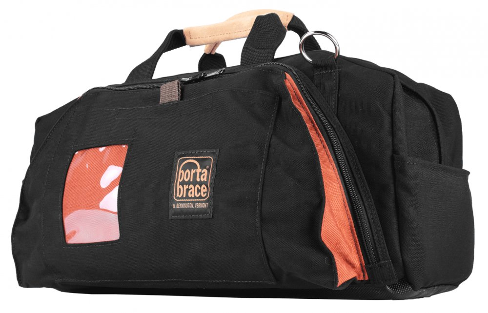 Small Cordura Run Bag with Suede Handles and Shoulder Strap, Black