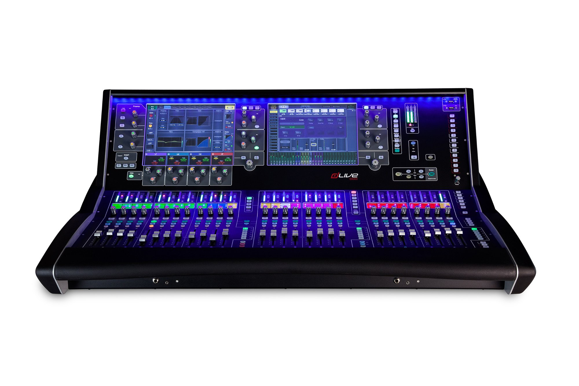 "Live Mixing Control Surface with 28 Faders and Dual 12"" Touchscreens"