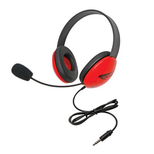 Califone International 2800-RDT Red Listening First Stereo Headset with To Go Plug 2800-RDT
