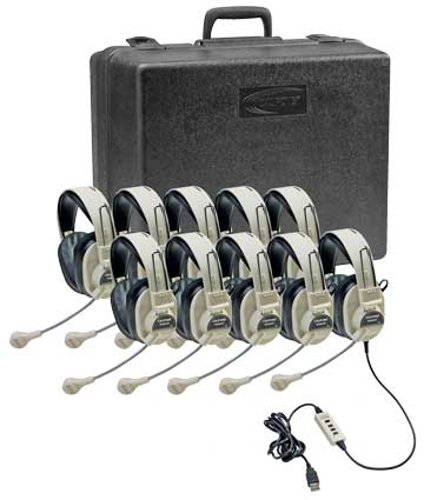 Califone International 3066USB-10  Deluxe Stereo Headset Classroom Pack  3066USB-10