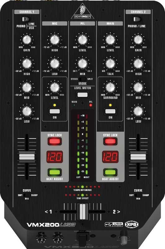 2 Channel DJ Mixer with USB, BPM Counter, VCA Control, and Software Bundle