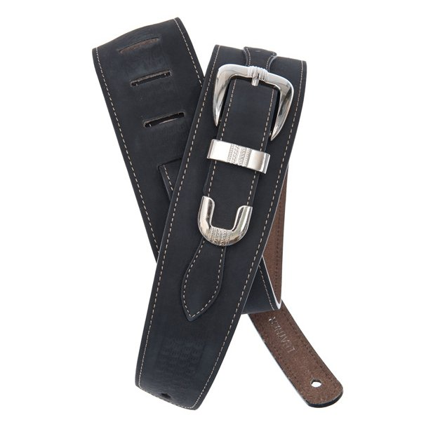 Black Leather Guitar Strap with Buckle
