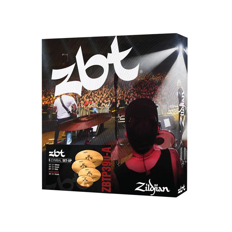 """Zildjian ZBT 5 Cymbal Set 5 Cymbal Set 14"""" Hi-Hats,16"""" Crash, 20"""" Ride with free 18"""" Crash ZBTP390A"""