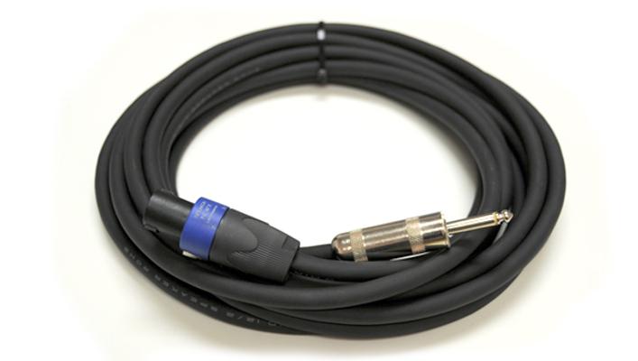 """Speaker Cable, 12 Gauge, NL4 to Large Barrel 1/4"""" Connectors, 50 Ft"""