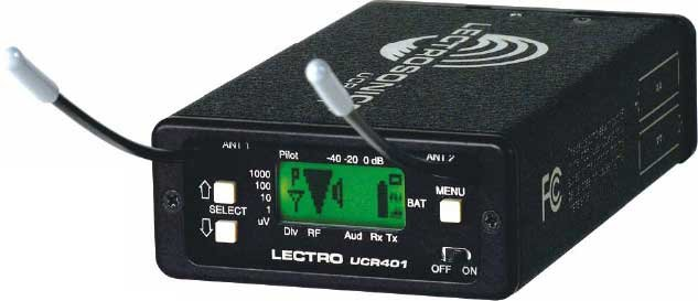 Compact Wireless Microphone Receiver with LCD, Digital Hybrid Wireless, Fixed Antennas